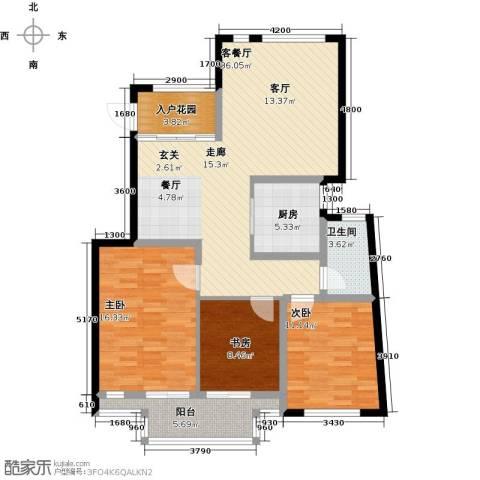 蝶景湾・御江山3室1厅1卫1厨107.00㎡户型图