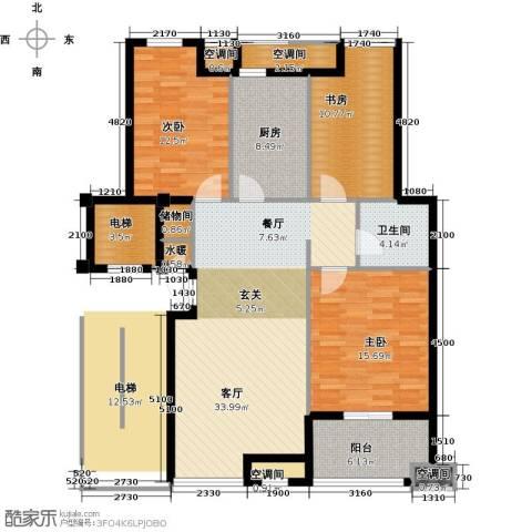 众成・新居华府3室1厅1卫1厨142.00㎡户型图