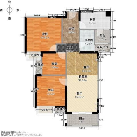 中海锦城3室0厅1卫1厨105.00㎡户型图