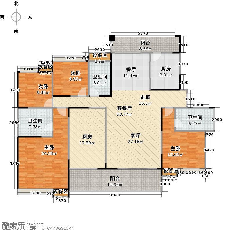融科东南海215.00㎡房间布局户型4室2厅3卫