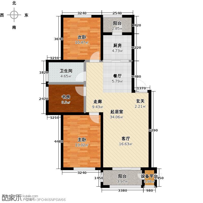 M5爱慕城QQ公寓户型3室1卫1厨