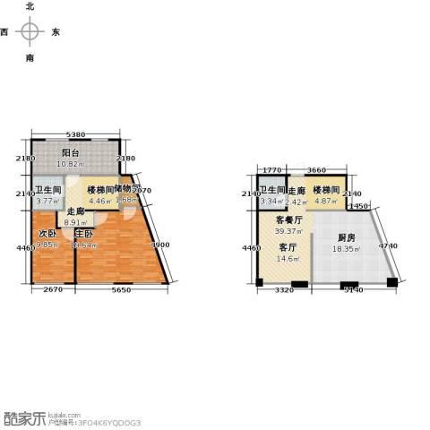 悦泰山里三期2室1厅2卫0厨131.00㎡户型图