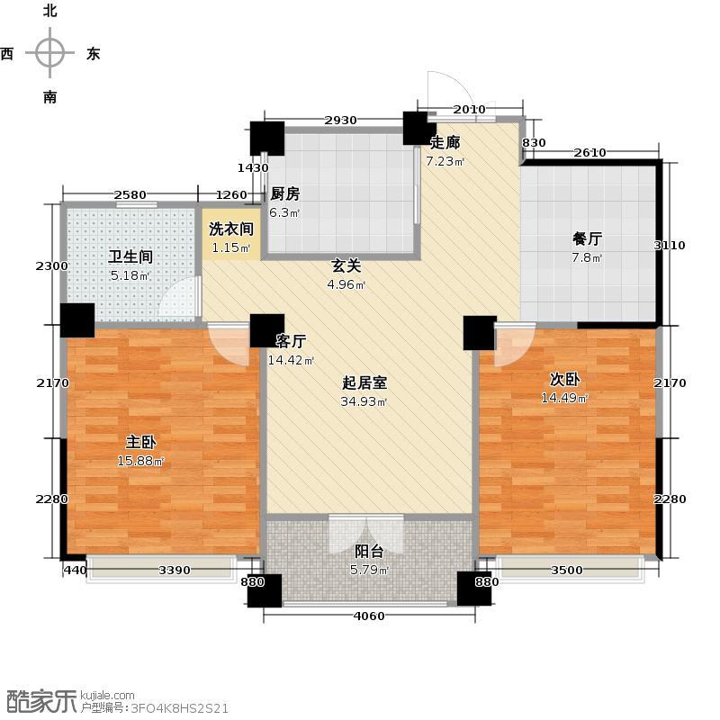 静安阳光花都90.00㎡静安阳光花都G5户型90平米两室两厅一卫户型2室2厅1卫