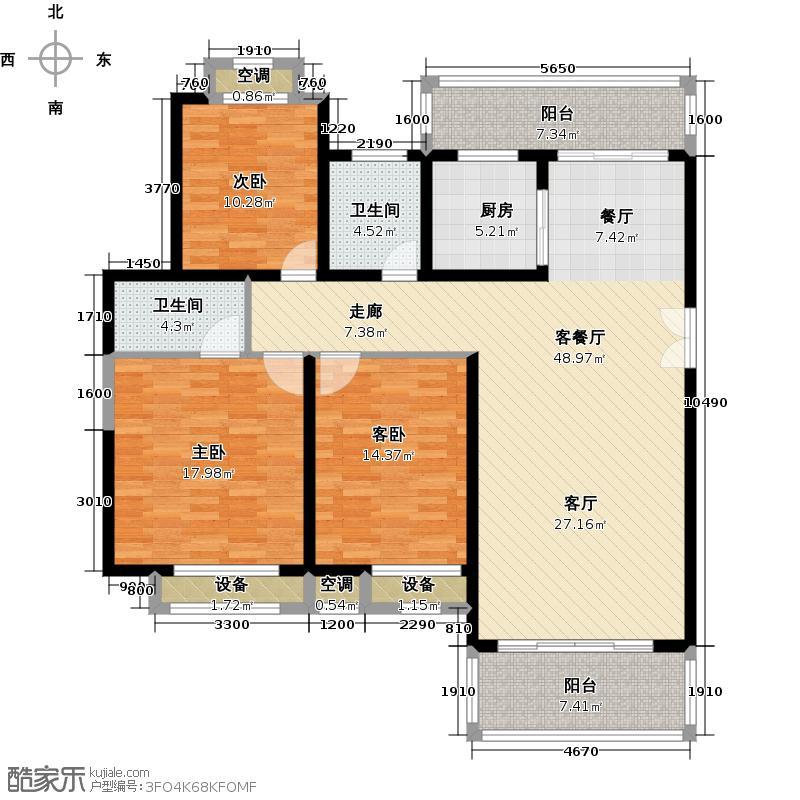 水榭湾143.00㎡C2户型3室2厅2卫
