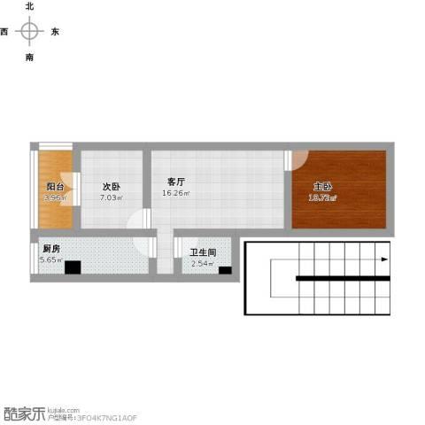 建欣苑三里2室1厅1卫1厨76.00㎡户型图