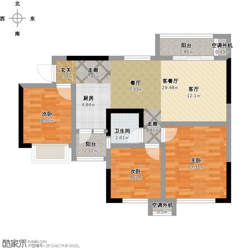 F户型95三室两厅单位一厨二阳