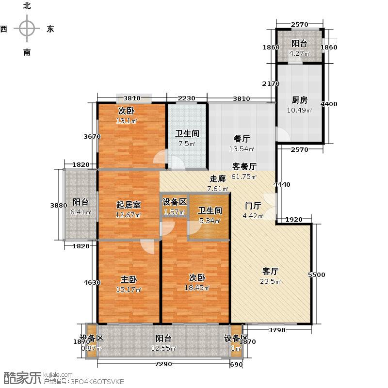 士林华苑一期140.00㎡房型: 三房; 面积段: 140 -150 平方米; 户型