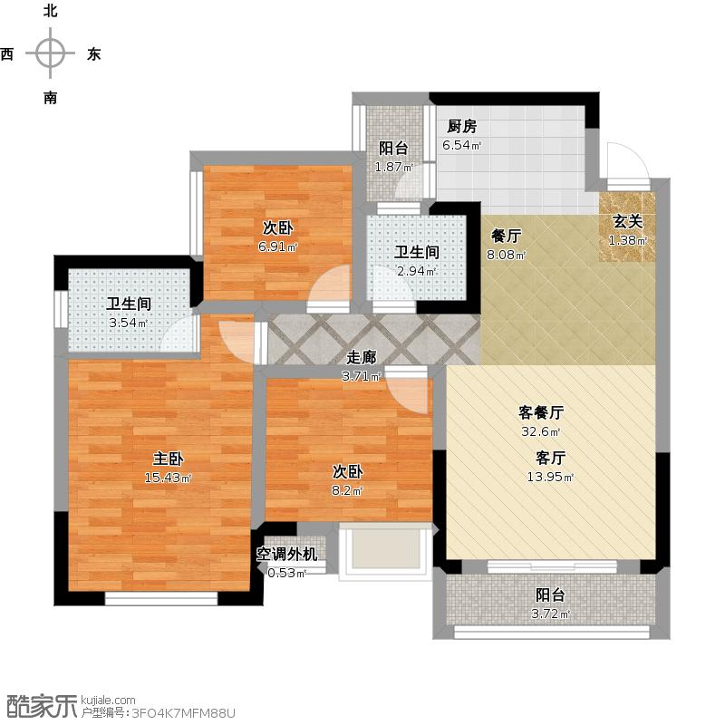 G户型面积约106三室两厅双卫一厨二阳