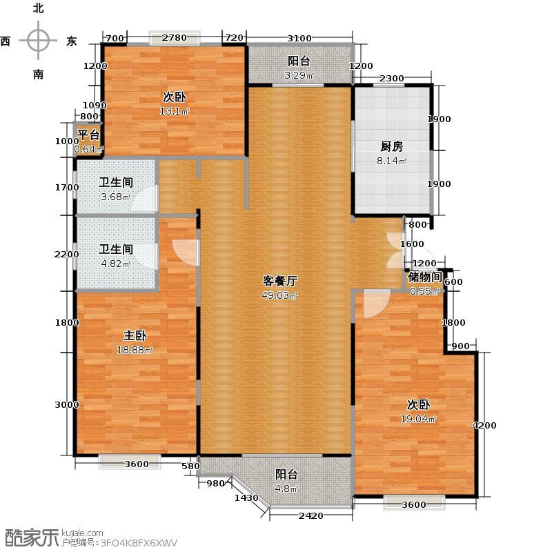 新世界新康家园157.50㎡三室两厅两卫户型