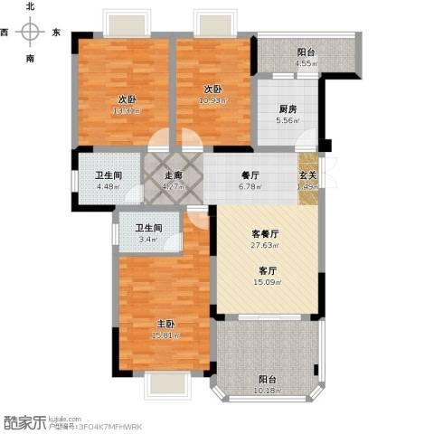 英豪永和春天3室1厅2卫1厨137.00㎡户型图