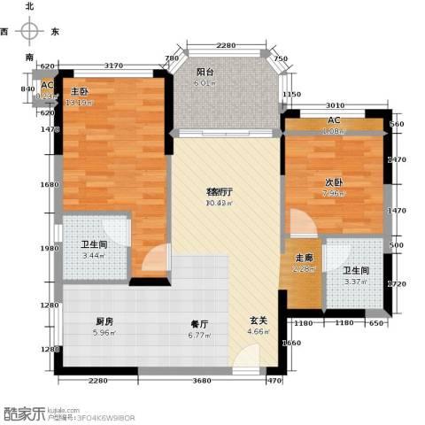 碧桂园・金海湾2室1厅2卫0厨93.00㎡户型图