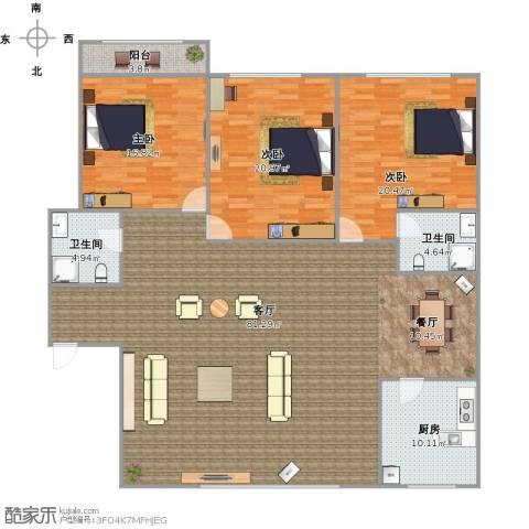 泉印兰亭3室1厅2卫1厨214.00㎡户型图