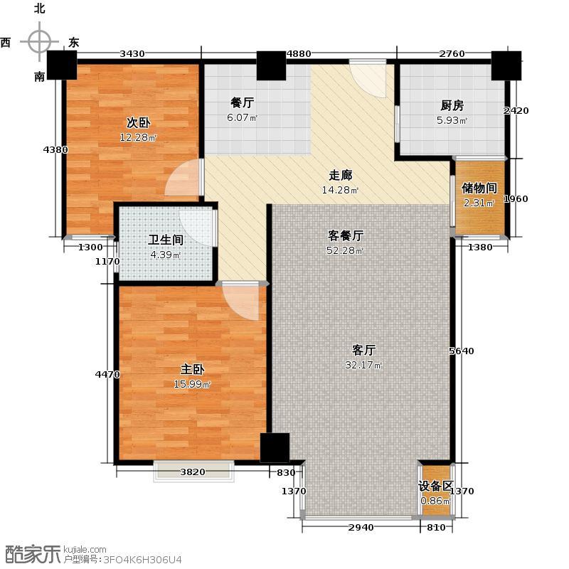 丽景国际商务中心101.46㎡G户型二室二厅一卫户型2室2厅1卫