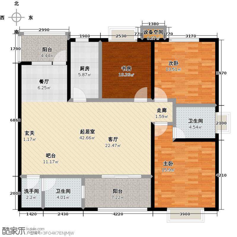 华府西城港湾125.10㎡L户型三室两厅两卫户型3室3厅2卫
