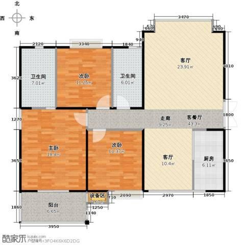 荣德棕榈湾二期3室1厅2卫1厨125.00㎡户型图