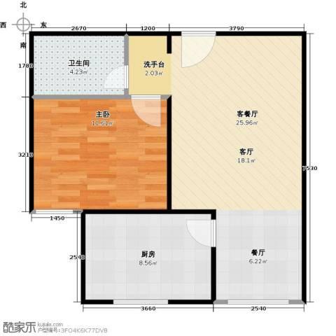东城桃园二期1室1厅1卫1厨54.00㎡户型图