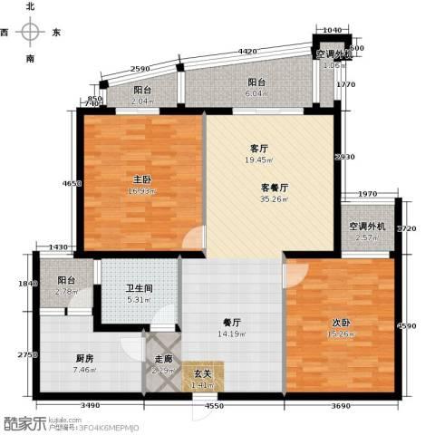 共和居住小区五街坊2室1厅1卫1厨135.00㎡户型图