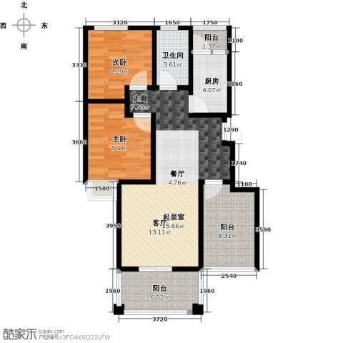 郑东宽景一品2室0厅1卫1厨90.00㎡户型图