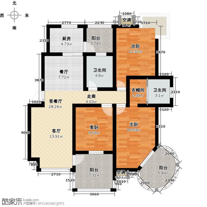 新丰丽都花园132.97㎡多层1-5号楼标准层C户型3室2厅2卫