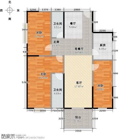 东城桃园二期3室1厅2卫1厨103.00㎡户型图