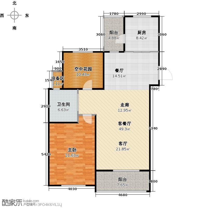 公园季76.00㎡D户型 一室二厅一卫户型1室2厅1卫