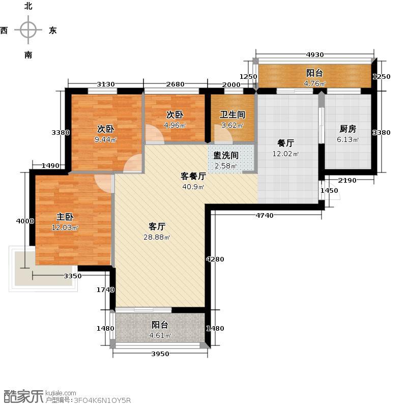 清江润城三期户型3室1厅1卫1厨