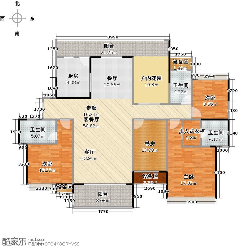 融科东南海190.00㎡D4户型四房两厅三卫户型4室2厅3卫