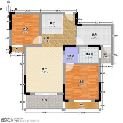 天邦紫金苑2室0厅1卫1厨87.00㎡户型图