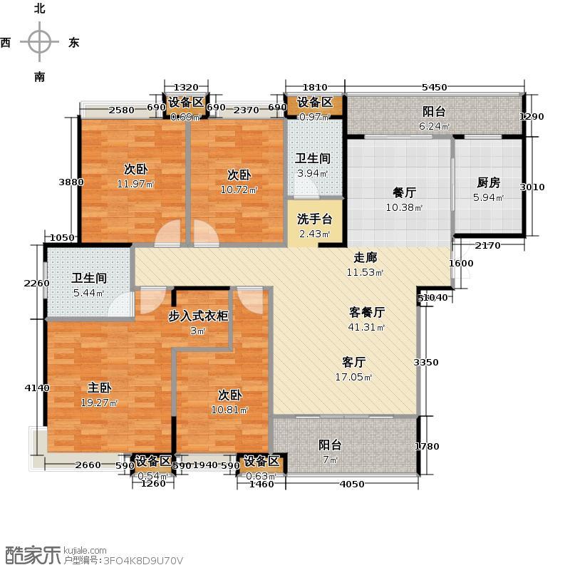 融科东南海156.00㎡北海D4户型 四房两厅两卫户型4室2厅2卫