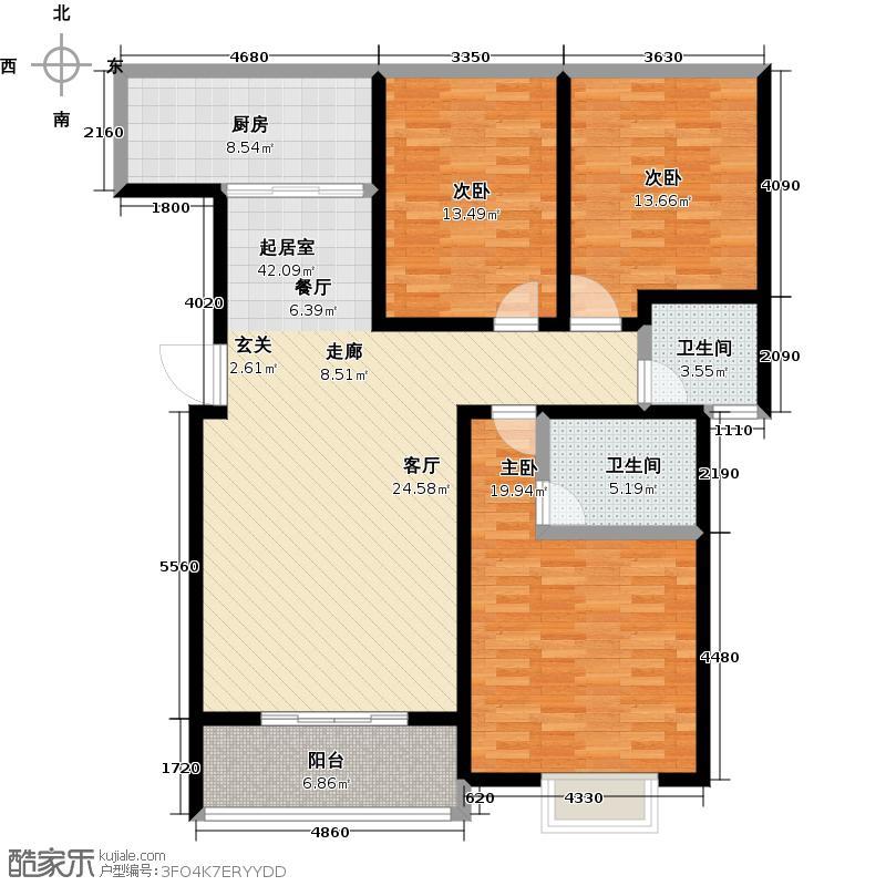 蠡县金都府邸129.71㎡N户型三室两厅一卫户型3室2厅1卫