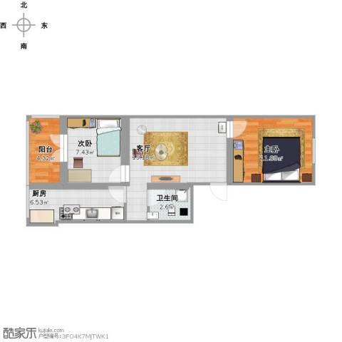 建欣苑三里2室1厅1卫1厨69.00㎡户型图
