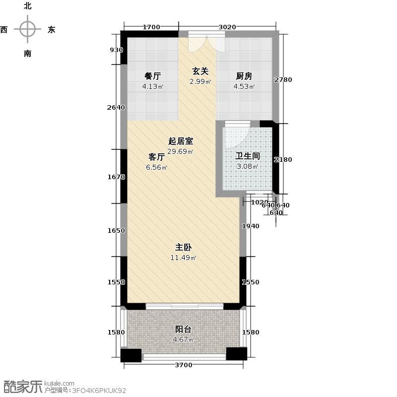 融冠・水映豪廷48.35㎡4期19B户型1室1厅1卫LL