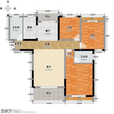 天邦紫金苑3室0厅2卫1厨138.00㎡户型图