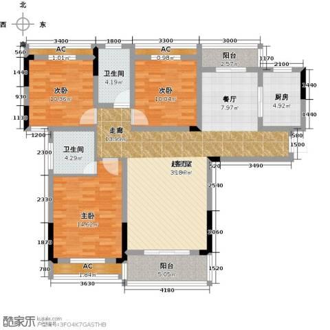 天邦紫金苑3室0厅2卫1厨130.00㎡户型图