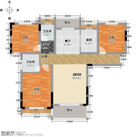 天邦紫金苑3室0厅2卫1厨129.00㎡户型图