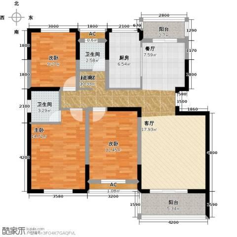 天邦紫金苑3室0厅2卫1厨128.00㎡户型图