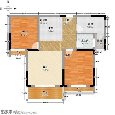 天邦紫金苑2室0厅1卫1厨96.00㎡户型图