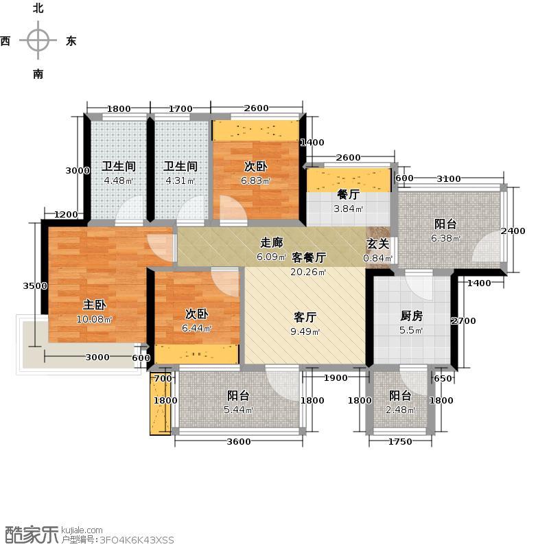 潜龙曼海宁(南区)7栋7-A3阳台8671-户型3室1厅2卫1厨