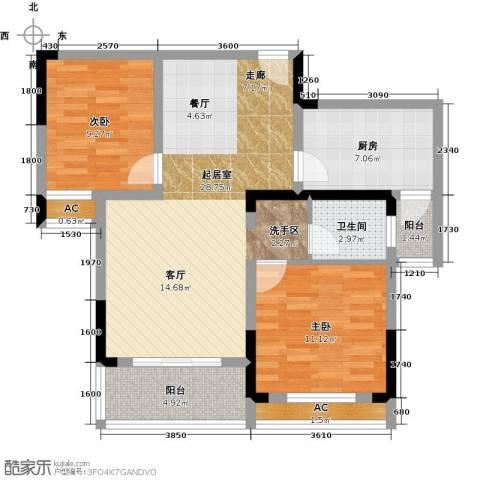 天邦紫金苑2室0厅1卫1厨88.00㎡户型图