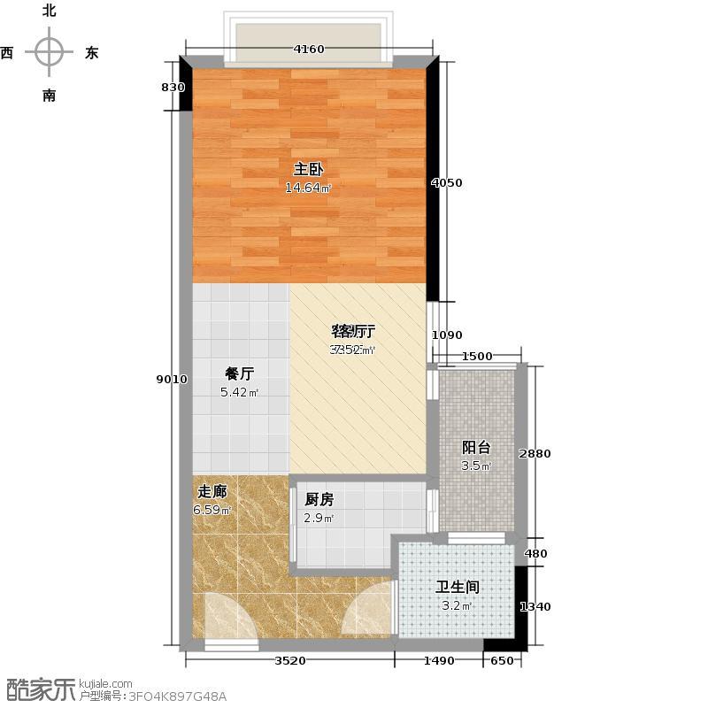 千禧郎8号48.65㎡一房一卫一阳台一瓢窗户型1室1厅1卫