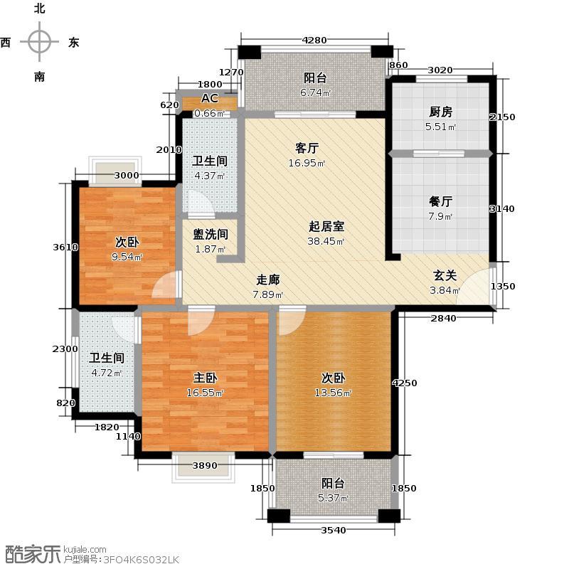 融冠・水映豪廷137.00㎡L户型3室2厅2卫LL