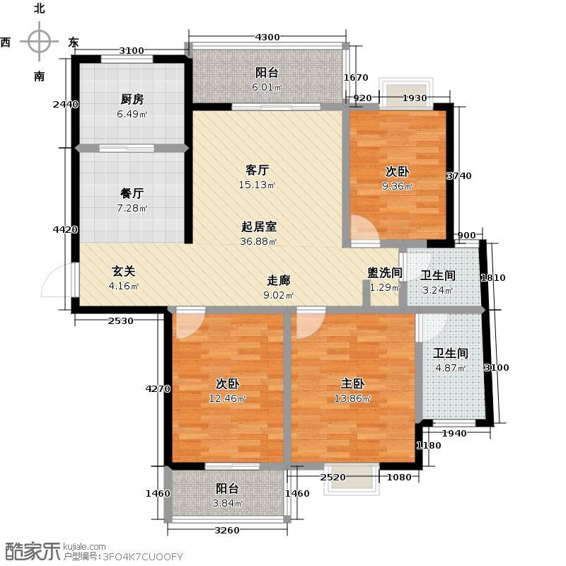 融冠・水映豪廷133.00㎡E户型3室2厅2卫LL