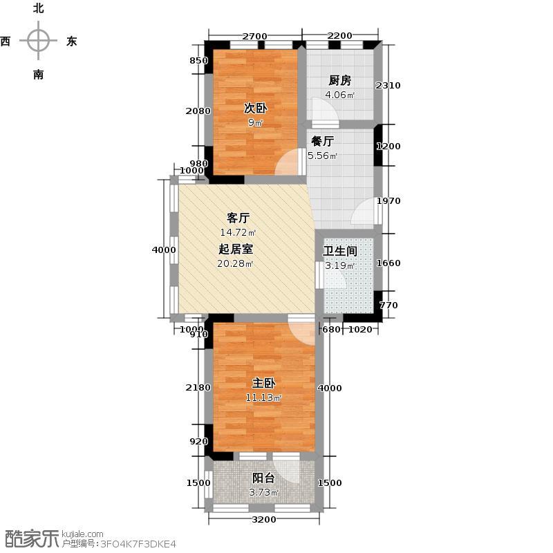 巴厘泉乡79.00㎡G51户型 两室两厅一卫户型2室2厅1卫