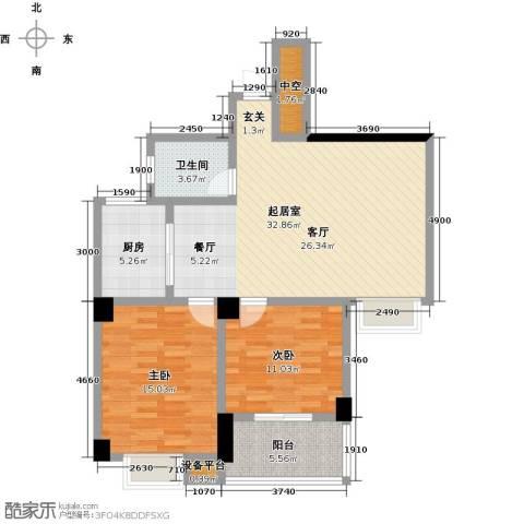 第一大道浏阳河畔2室0厅1卫1厨89.00㎡户型图