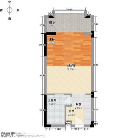 丽江幸福里1厅1卫0厨52.00㎡户型图