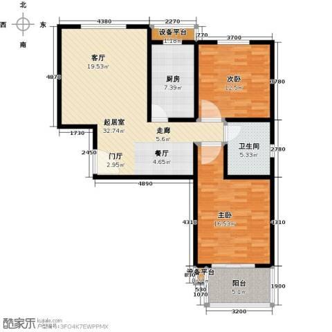 朝阳翡翠城2室0厅1卫1厨91.00㎡户型图