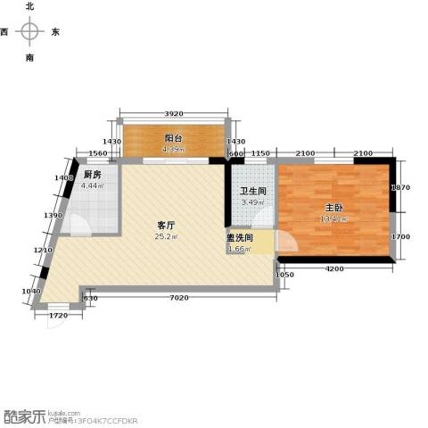 丽水康城(二期)1室1厅1卫1厨68.00㎡户型图