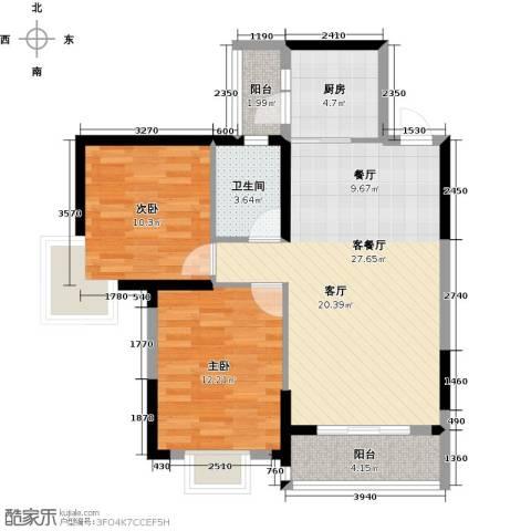丽水康城(二期)2室1厅1卫1厨85.00㎡户型图