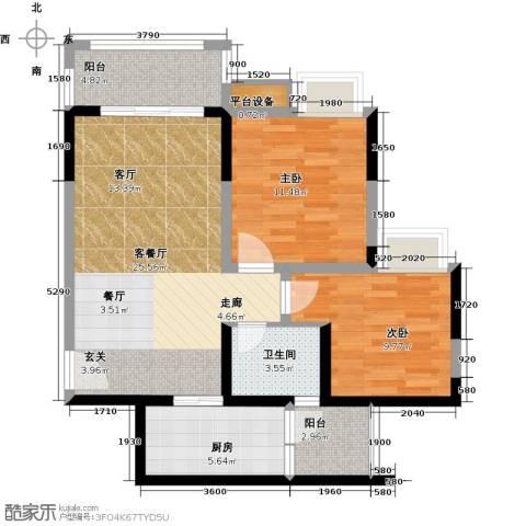 锦天梦湖山庄2室1厅1卫1厨75.00㎡户型图