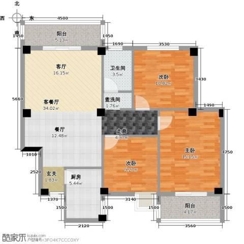丽水康城(二期)3室1厅1卫1厨118.00㎡户型图